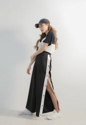 HAMALIEL-Mujeres-Hit-Color-El-stica-Cintura-Pantalones-Lados-Rayas-Blanco-Rendijas-negras-con-Metal-Press (1)